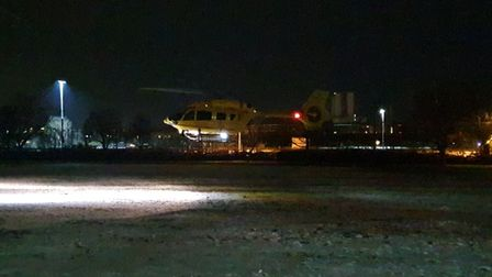 The air ambulance landed in Ipswich last night to respond to a medical emergency.