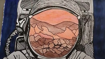 Artwork produced by pupils during project inspired by NASA mission to Mars.