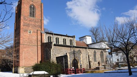 St Augustine's Church in Norwich, where work has started to repair the east end of the building. Pic