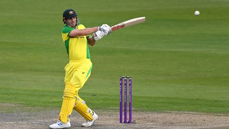 Australia's Mitchell Marsh strikes the ball during the first Royal London ODI match at Emirates Old