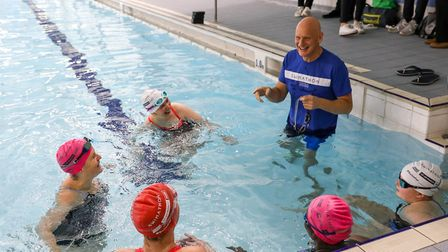 Duncan Goodhew in the pool for the Swimathon