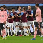West Ham United's Declan Rice (centre left) celebrates scoring their side's first goal of the game d