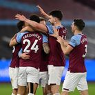 West Ham United's Ryan Fredericks celebrates scoring their side's third goal of the game during the