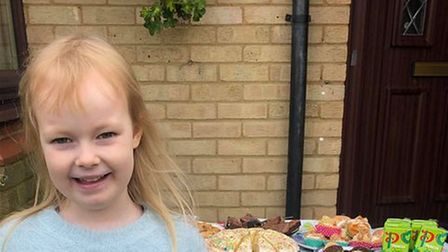 Olivia Rawson, aged six, from Eynesbury in St Neots, held a bake sale to raise funds for her Rainbow unit.