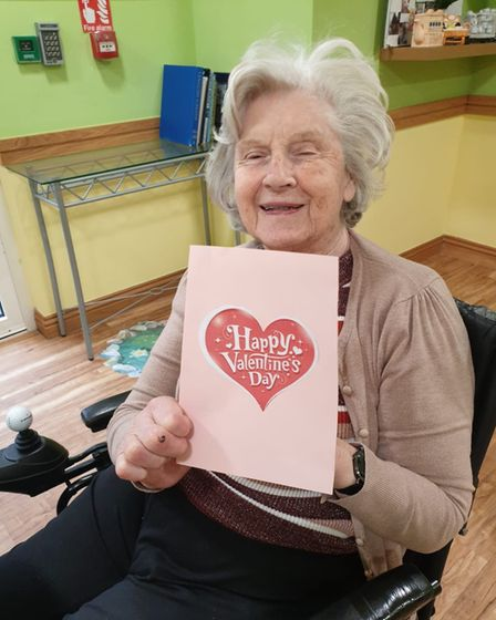 Care centre residents receiving cards and presents this Valentine's day.