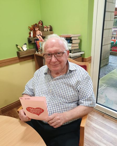 Care centre residents receivingcards andpresents this Valentine's day.