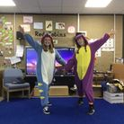 Miss Collingbourne and Miss Derbyshire from Tannery Drift First School in Royston got dressed up for Feeling Good Week