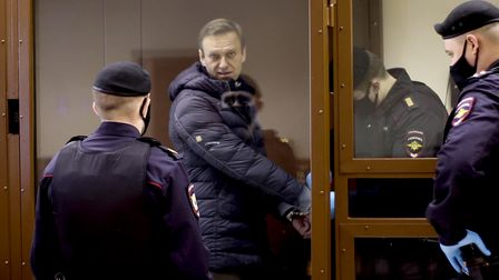 Russian opposition Alexei Navalny appears in court in Moscow on February 16, 2021