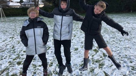 children outside in the snow