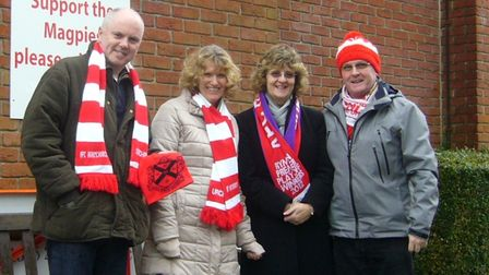 Neil Duncanson (left) with his wife Julie and fellow Hornchurch fansArlette and Trevor Wiggins