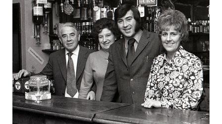 Behind the bar at The Duke of Gloucester pub in 1974