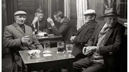 Enjoying a pint and a chat at the Duke of Gloucester pub in 1974