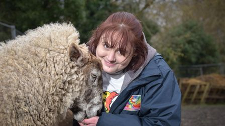 Lora Steggle with her ewe, Angelica Lambsbury, who has been nominated for two Animal Star Awards. P
