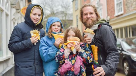 Sophia, Lucy, Lily and Evan Hancock enjoying their crepes. Picture: SARAH LUCY BROWN