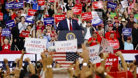 United States President Donald Trump launches his re-election campaign in Orlando, Florida. (Photo b