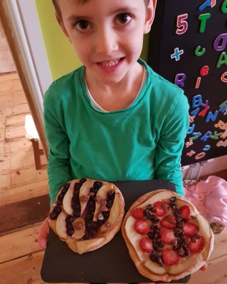 Reuben's fruity pizzas won him a 'star baker' prize in Cliff Lane Primary School's contest