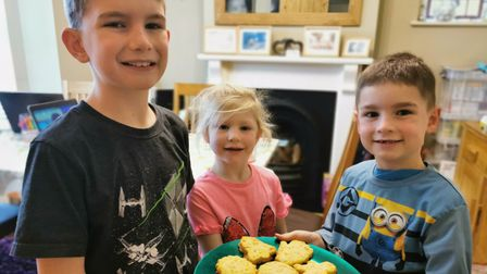 Left to right, Alfie, Imogen and Freddie complete the cheese straws challenge in the Great Cliff Lane Bake Off