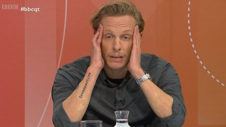 Laurence Fox appears on Question Time. Photograph: BBC.