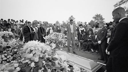 The funeral service for Cynthia Dianne Wesley, one of the African-American girls killed in the racis