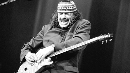 Carlos Santana performs on July 12, 1996, at the North Sea Jazz Festival in The Hague, Netherlands.
