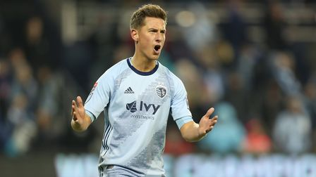 Krisztian Nemeth of Sporting Kansas City reacts after missing a chance to score during the match bet