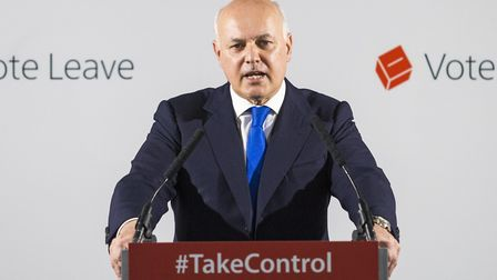 Brexiteer Iain Duncan Smith gives a speech as part of the Vote Leave campaign during the EU referend