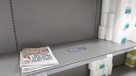 A bunch of Daily Mail newspapers were left in the toilet roll section of a supermarket. Photograph: