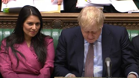 Home secretary Priti Patel and prime minister Boris Johnson during Prime Minister's Questions in the