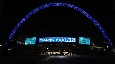 Wembley Arch is illuminated in blue to show its appreciation to the NHS amid the coronavirus outbrea
