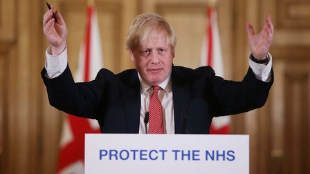 Prime minister Boris Johnson gives a daily COVID-19 press briefing at Downing Street. PIcture: Getty