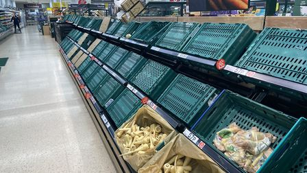 Supermarket shelves stripped bare due to panic-buying amid the coronavirus crisis. Picture: Archant