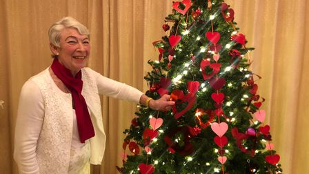 Val Clifford with her Valentine's tree