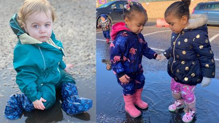 Children from Twizzle Tops nursery in Ipswich having fun at the puddle jump