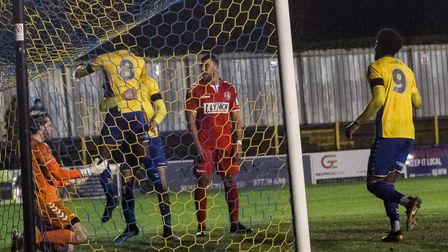 Solomon Nwabuokei celebrates his goal for St Albans City