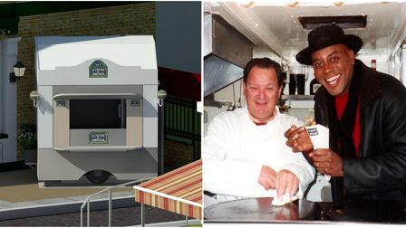 The proposed new kiosk (left). Creperie owner Edward de Mesquita and TV chef Ainsley Harriott (right)