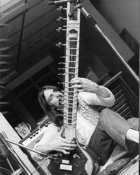 Mac MacLeod playing the sitar.Supplied by the MacLeod family