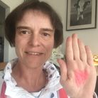 North Devon MP Selaine Saxby sporting a Domestic Abuse Heart