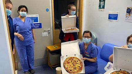 Valentine's Day pizza and chocolate was delivered to Watford General Hospital.