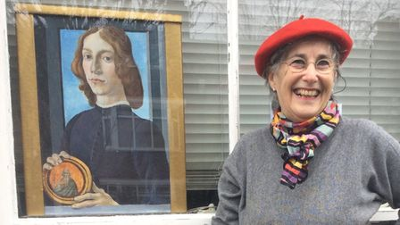 Philippa Abrahams and her recreation of Botticelli's Portrait of a Young Man Holding a Roundel