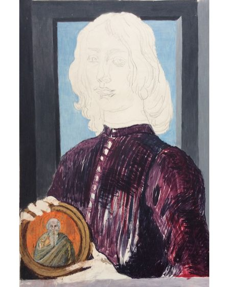 Philippa Abrahams' recreation of Botticelli's Portrait of a Young Man Holding a Roundel, in progress