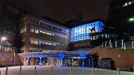 The Whittington Hospital turned blue for the NHS' 72nd birthday. Picture: Whittington Health