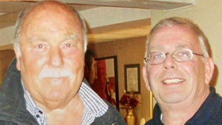 Jimmy Greaves at Barkingside FC in 2010 with late committee member Martin Meyers.