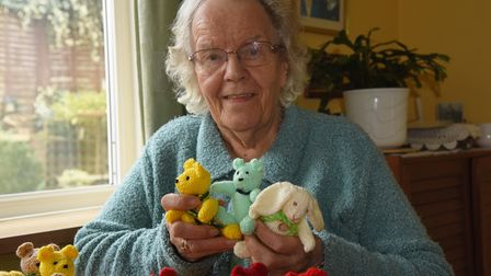 Ruth Holliday who has knitted over 100 bears and rabbits throughout lockdown to keep her occupied an