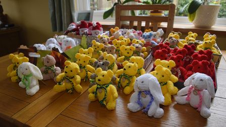 The bears, Santa's and rabbits that Ruth Holliday has knitted throughout lockdown to keep her occupi