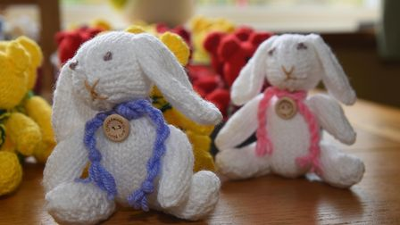 Some of the rabbits that Ruth Holliday has knitted throughout lockdown to keep her occupied and help
