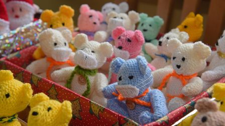 Some of the bears that Ruth Holliday has knitted throughout lockdown to keep her occupied and help c