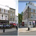 The former Haverstock Arms (left)–now a hotel (right)