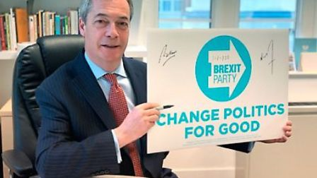 Nigel Farage is selling these placards for £35. Photograph: Brexit Party.