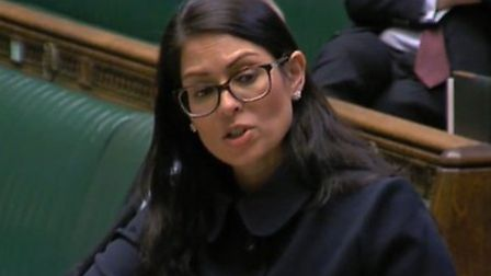 Home secretary Priti Patel responds to a question on immigration during the coronavirus outbreak. Ph