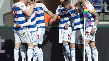 Queens Park Rangers' Sam Field (second left) celebrates scoring their side's first goal of the game